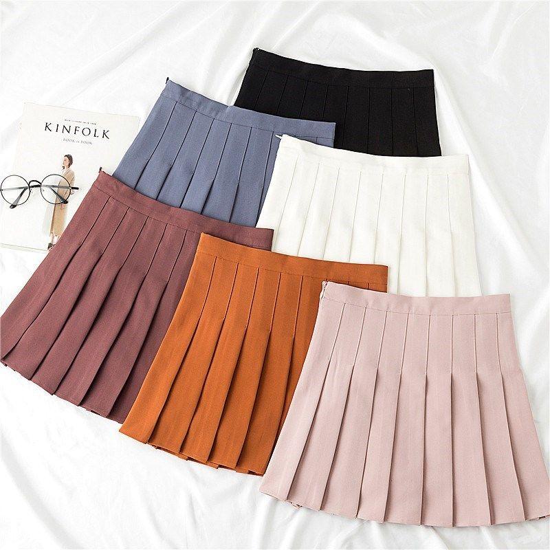 版型超好美式复古百褶裙西装短裙女防走光秋季a字高腰半身灰色裙