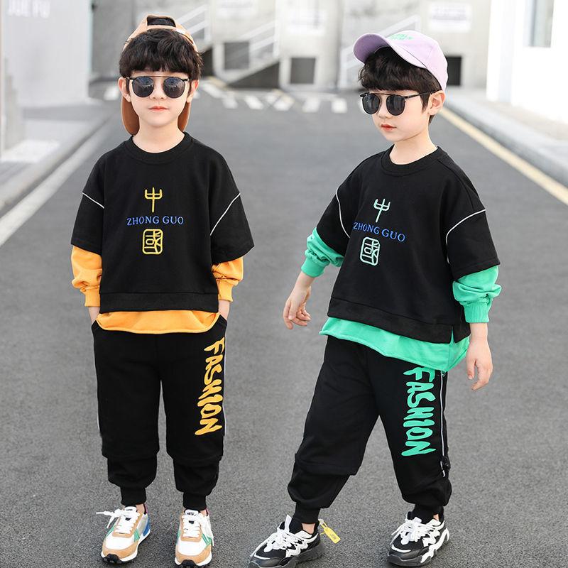 男童秋装套装新款中大童长袖卫衣运动两件套