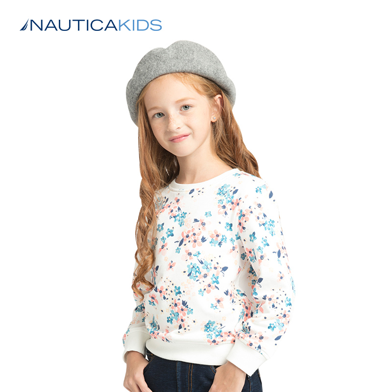 8ed0903c3 Nordic card children's clothing round neck sweater children floral T-shirt  2017 autumn and Winter new children's clothing sweater