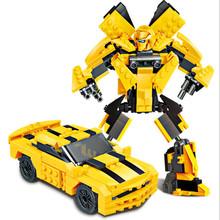 启智乐变形机器人仔拼装积木高益智力大黄蜂金刚秦天柱男孩子玩具