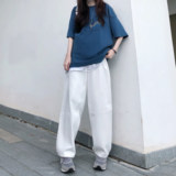 SDCPCCBB new tide brand Japanese white jeans men and women loose wild casual trousers men's mop women
