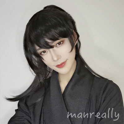 chinese hanfu warrior swordsman film cosplay wig for men ancient style Hanfu multi purpose tiger mouth clip horsetail handsome natural matte whole head cover wig