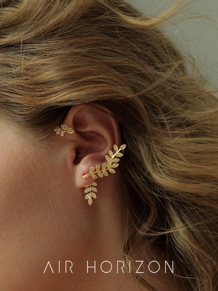 Lost an ear bone earrings One female French net Red exquisite niche temperament earrings leaves cold wind accessories
