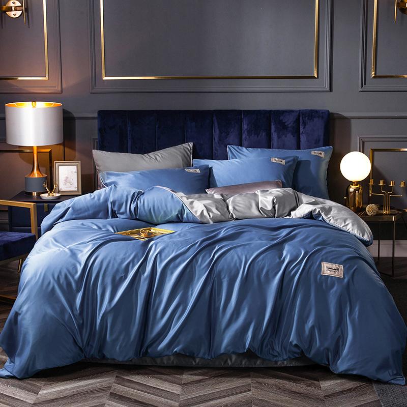 新款天丝四件套真丝轻奢欧式裸睡床上用品双人4件套1.8床被套床单