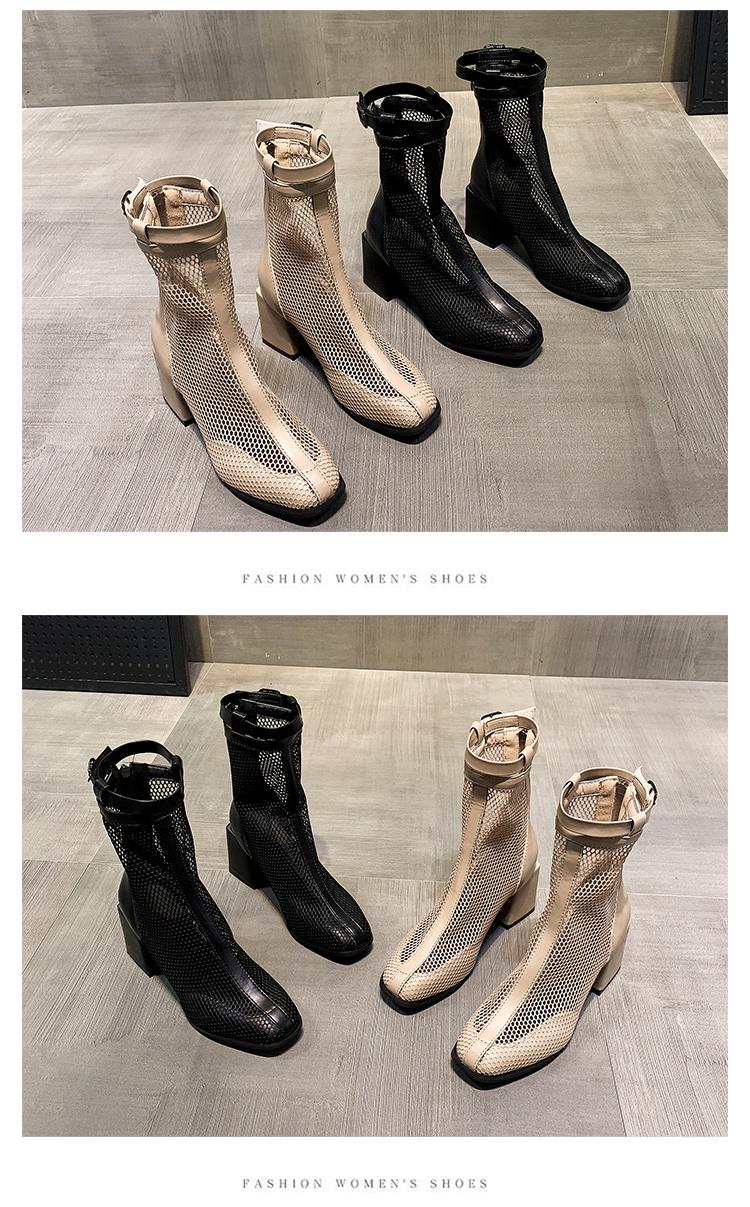 网纱镂空凉靴新款夏天高跟粗跟网面增高瘦瘦切尔西靴百搭短靴详细照片