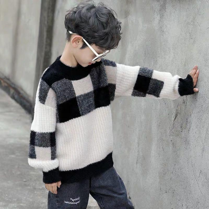 男童洋气套头格子针织毛衣打底衫