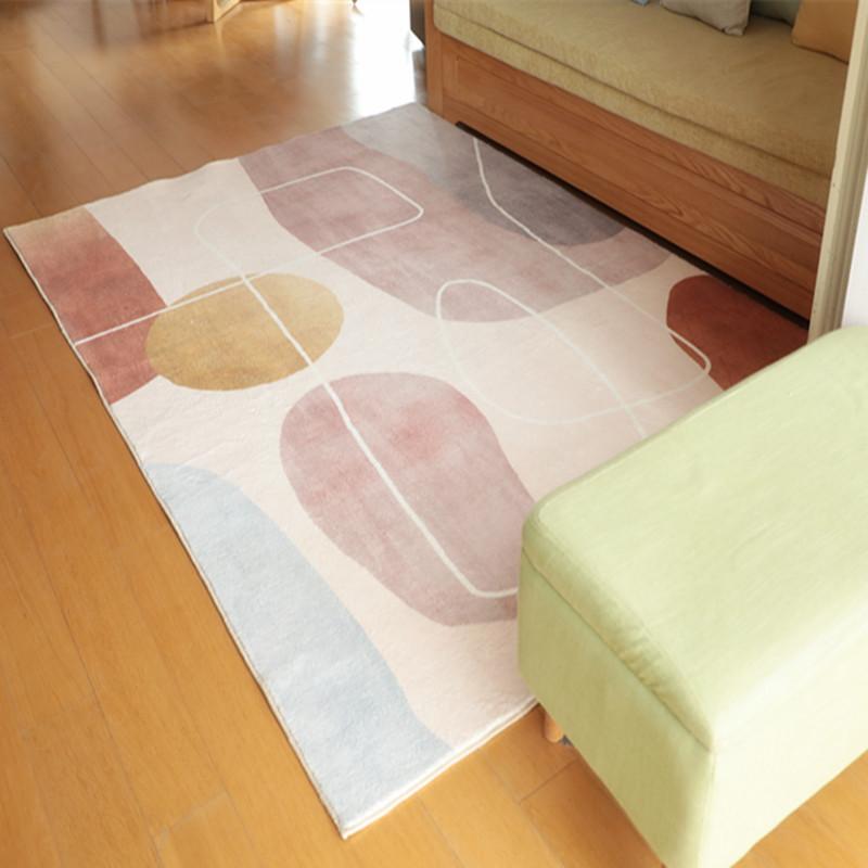 北欧ins风房间床边纯色地毯卧室