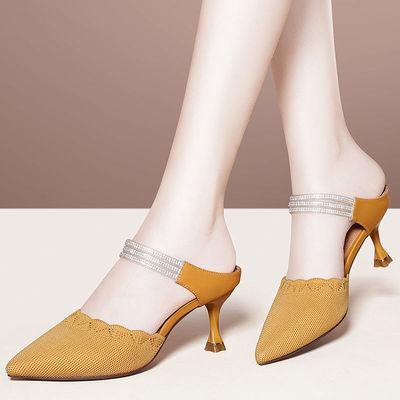 伯恩宾包头半拖鞋女2021新款网纱水钻尖头细跟外拖鞋高跟凉拖鞋夏