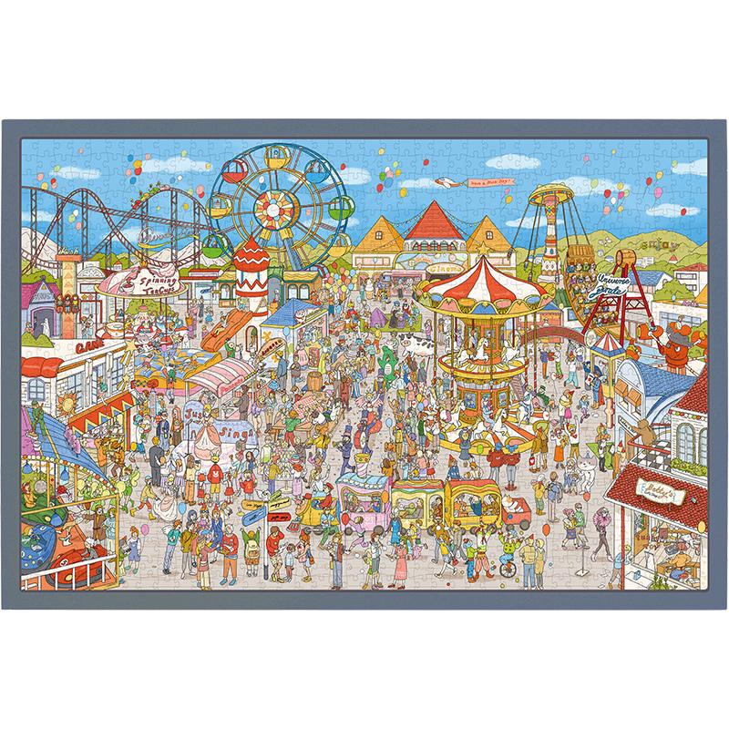 猫的天空之城1000片拼图开心游乐园成人减压益智卡通儿童纸质玩具