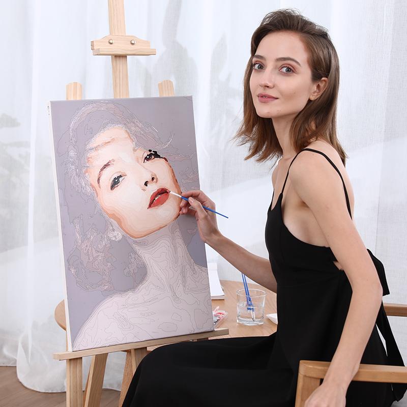 数字油画diy填充油彩画涂色手工装饰画定制图片手绘动漫情侣照片