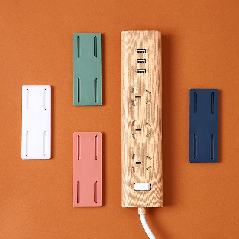 插排固定器壁挂电线收纳排插插座固定器墙上贴免打孔♀路由器置物架
