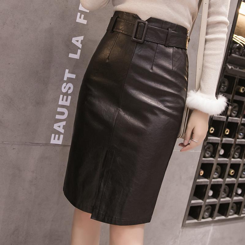 秋季优质pu洗水皮裙时尚高腰半身裙女装