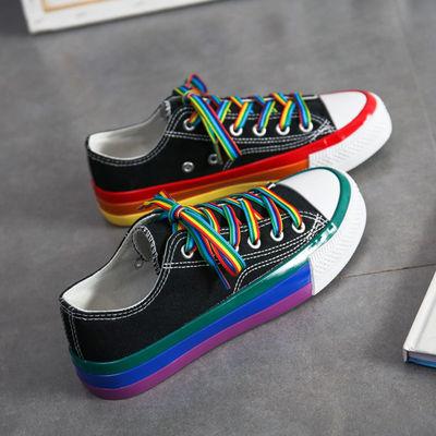 彩虹帆布鞋女鞋2020年秋季新款低帮学生百搭小白鞋运动休闲鞋子潮