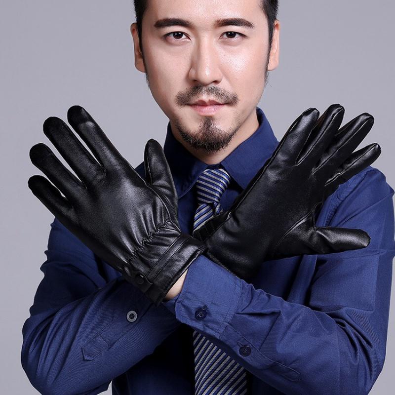 电瓶车保暖可触屏手套保暖手套男女士秋冬季防水骑车加绒�|加厚pu皮