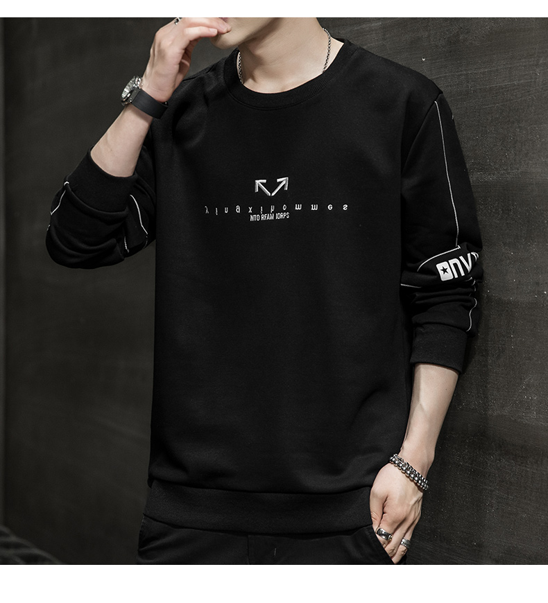 Wei yi men's spring and autumn round-neck casual top Korean version of the trend youth 2020 new coat hooded long-sleeved t-shirt 60 Online shopping Bangladesh