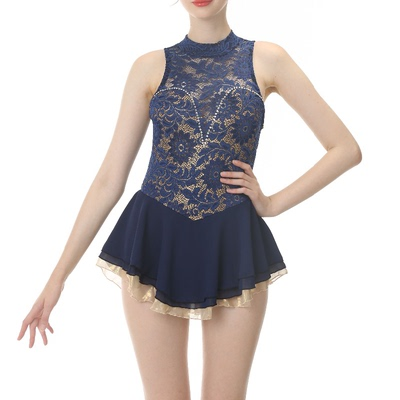 custom size figure skating dress for girls women Custom made children adult Figure Skating Dress Girls performance test dress Navy lace color matching sleeve less