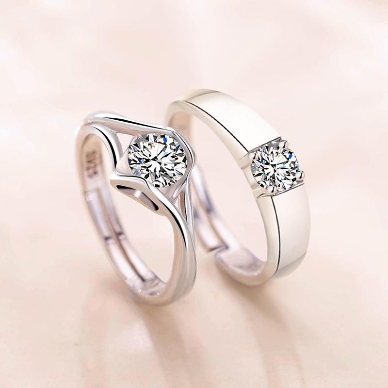 情侣戒指一对925纯银求婚开口男女日韩结婚对戒七夕情人节礼物