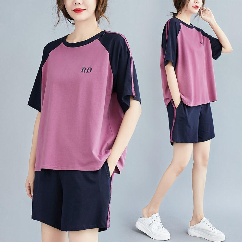 夏休闲运动套装女新款时尚胖mm宽松大码遮肉显瘦短袖短裤两件套潮
