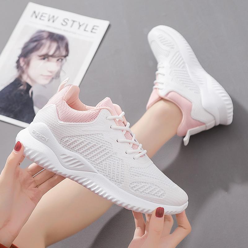 秋季新款旅游鞋网面透气柔软增高仙女鞋休闲跑步鞋旅游出行必备