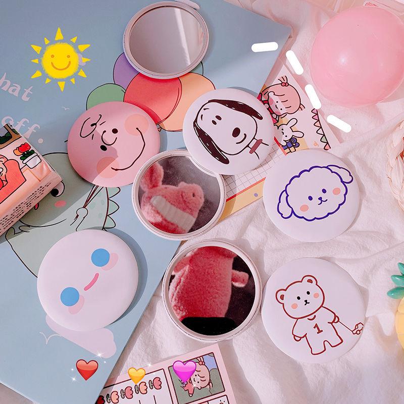韩国ins风卡通可爱小镜子化妆镜随身便携镜女迷你小圆镜