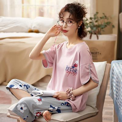 睡衣女夏季纯棉短袖套装半袖七分裤两件套韩版春秋可爱中裤家居服