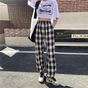 女士黑白格子裤直筒裤高腰裤休闲格纹拖地裤