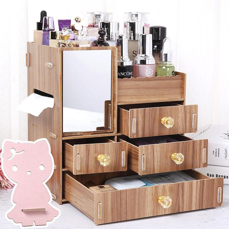 木质化妆品收纳盒桌面收纳盒木制抽屉式梳妆