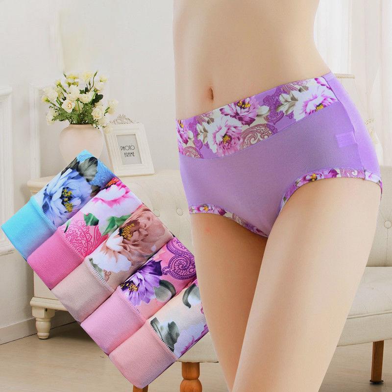 5条 大码内裤女性感女士内裤女中腰提臀舒适透气牡丹印花三角裤女
