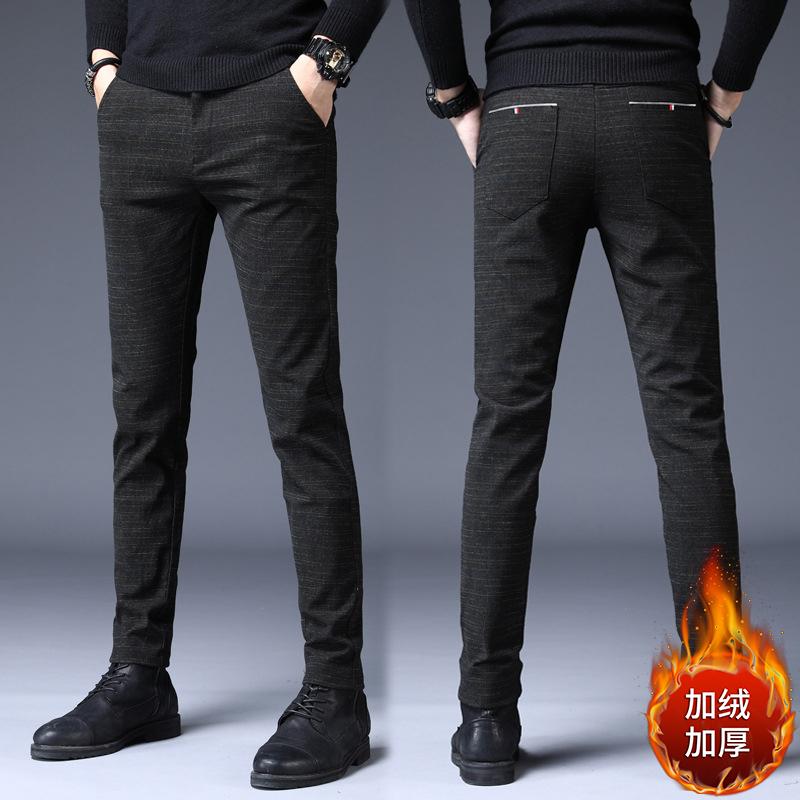 2020秋冬季男士新款时尚修身加绒加厚裤子男休闲保暖裤大码休闲裤