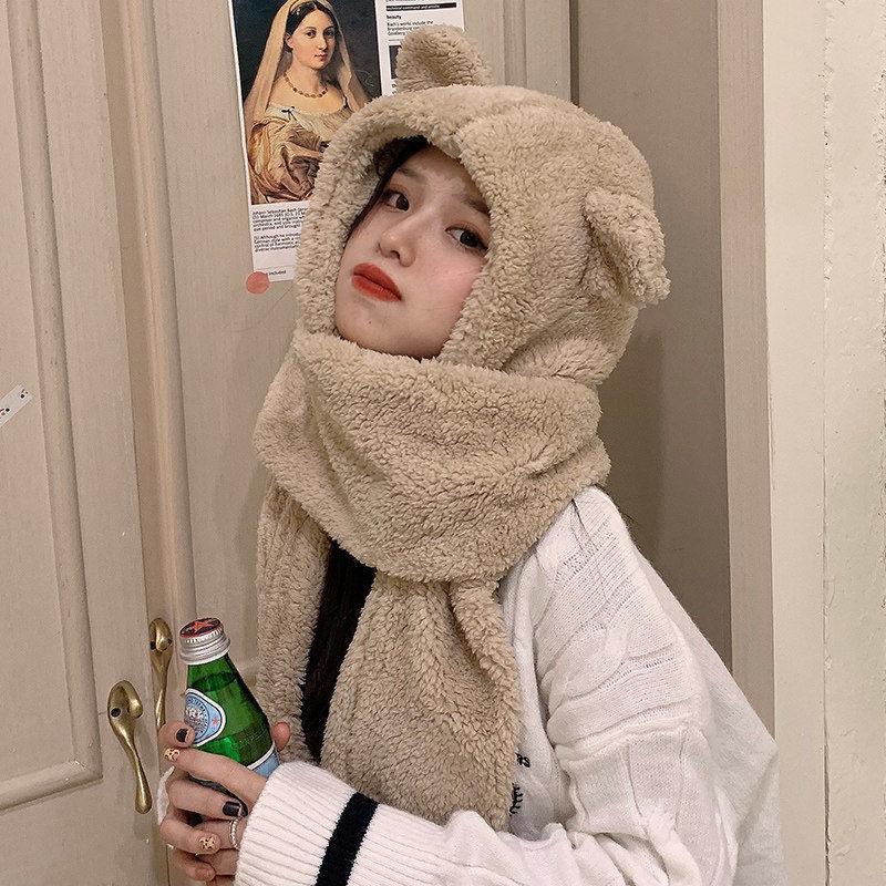 小熊护耳朵帽子女秋冬季可爱冬天毛绒围巾连帽一体韩版百搭保暖潮
