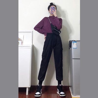 束脚工装裤女显瘦高腰女裤子宽松bf秋冬季2019新款加厚加绒运动裤