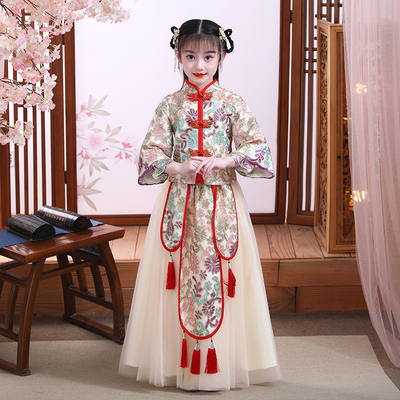 Girls ancient costume Chinese Hanfu costume Ru Skirt New Years dress childrens Chinese style super immortal Tang dress little girls long sleeve childrens wear