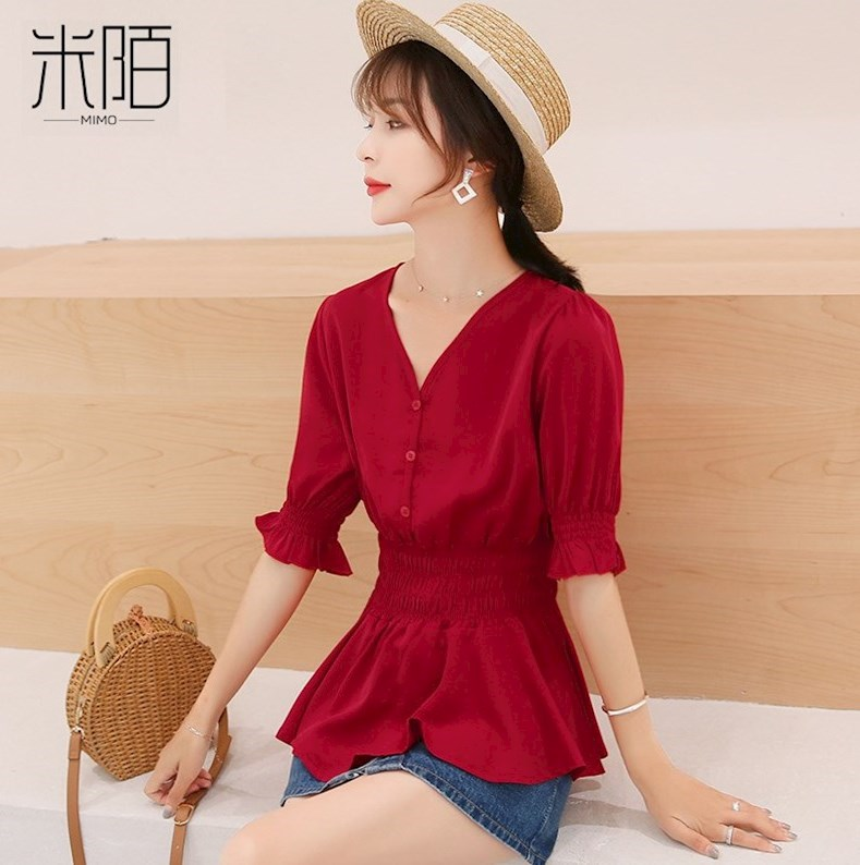 春款红色短袖t恤女装春夏装2021年新款短款收腰上衣服雪纺打底衫