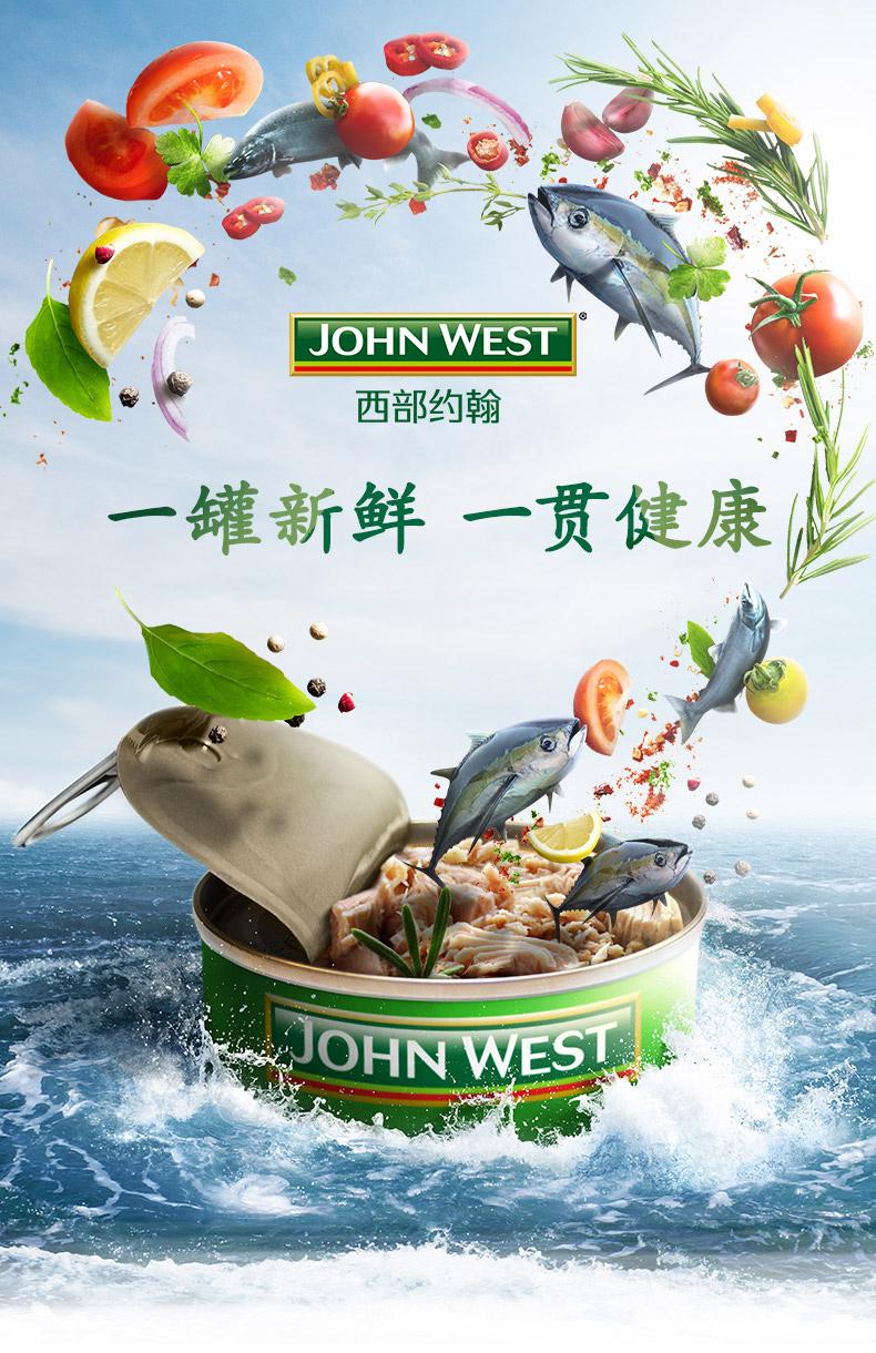 百年全球海鲜品牌 JOHN WEST 西部约翰 金枪鱼罐头 95g*4罐 图1