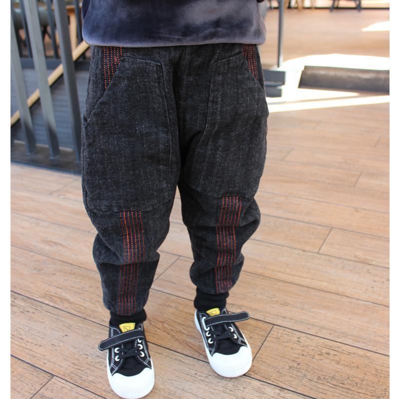 儿童装男童牛仔裤秋冬2020新款宝宝裤子冬装宽松高腰保暖加厚棉裤