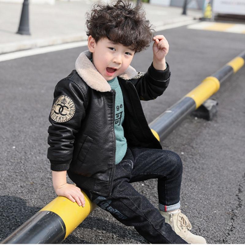 童装男童冬装加厚外套2020新款韩版宝宝皮衣秋冬儿童加绒夹克洋气