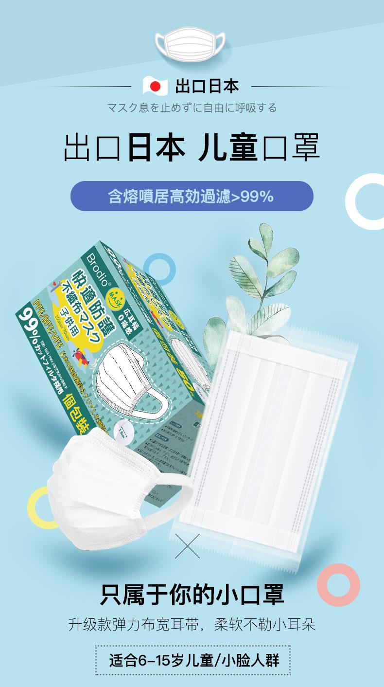 日本 Brodio 儿童口罩 一次性三层小脸口罩 50只 宽耳绳不勒耳 单片独立包装 图1