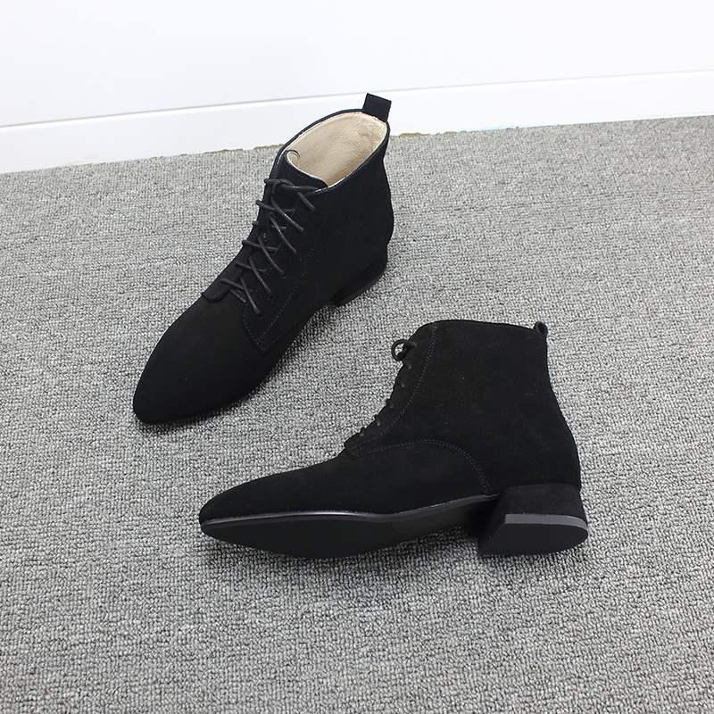 短靴女粗跟秋季平底磨砂系带绑带3cm百搭单靴黑色尖头真皮马丁靴