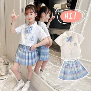 2021小女孩jk制服裙女夏季女孩夏天裙套装小学生学院风时尚短裙套