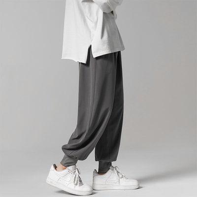 冰丝裤子男士韩版潮流百搭夏季薄款运动九分休闲裤宽松灰色束脚裤
