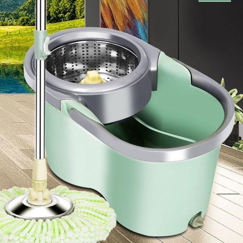 居家日用厚带轮双驱动拖把桶旋转不锈钢