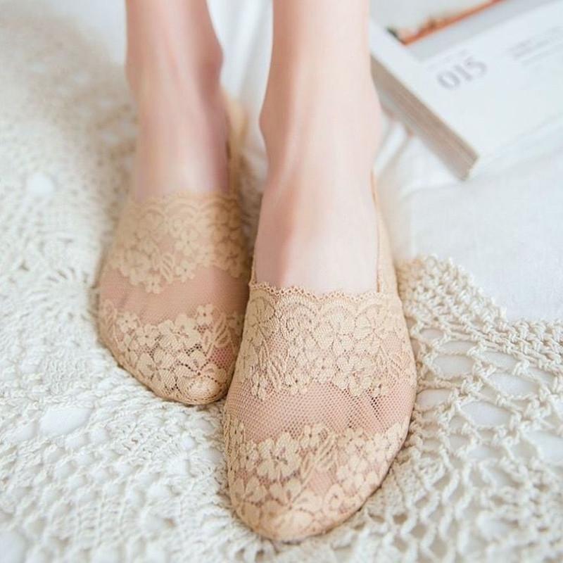 3/5双装蕾丝船袜女花边短袜夏薄款棉底袜子女韩版硅胶隐形防滑袜