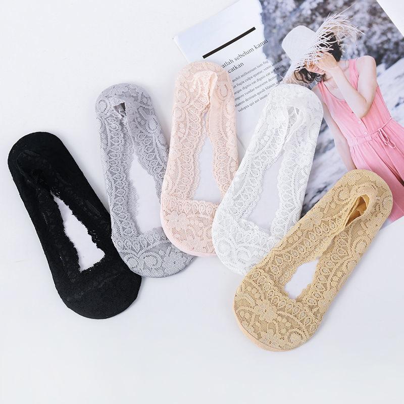 蕾丝船袜女浅口薄款脚底防滑隐形袜女学生版