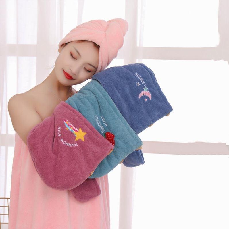 干发帽超强吸水浴帽洗头发速干刺绣毛巾