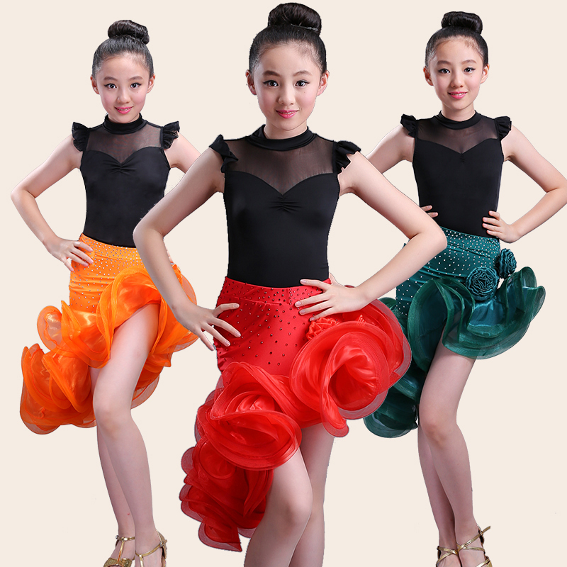 574a7b3bb Kids Ballroom Dance Wear Salsa Tango Rumba Samba Costume lace children  professional latin dance dress for girls flamengo skirt