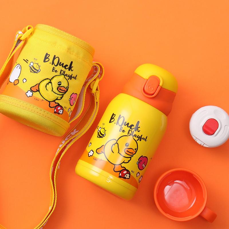 小黄鸭保温杯316不锈钢水壶女宝宝水杯学生杯子带吸管儿童保温杯