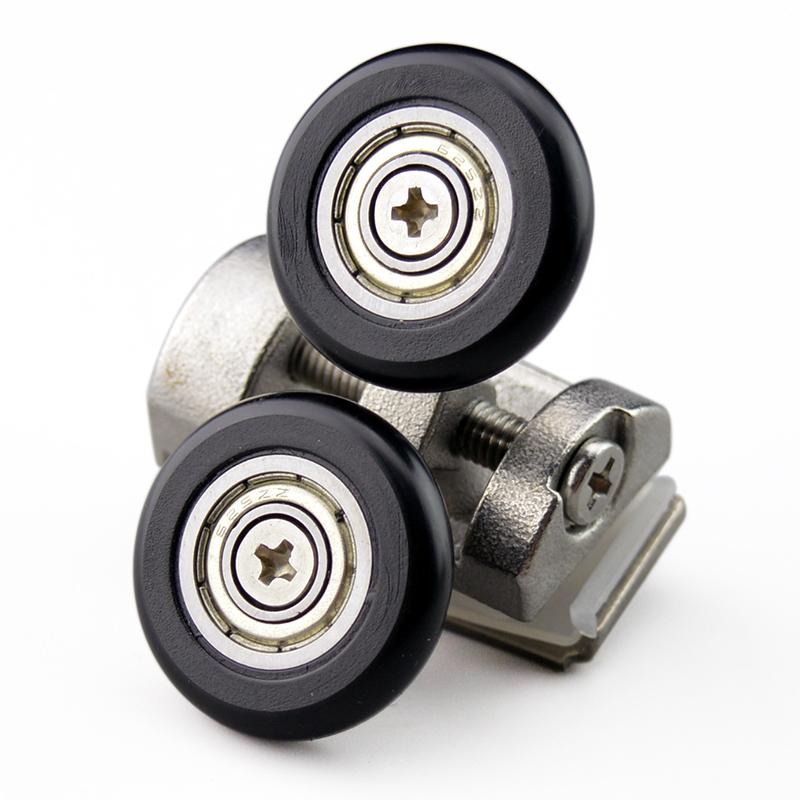 浴室玻璃移门吊滑轮圆弧淋浴房滑轮推拉门可调节铜轮弹跳轮