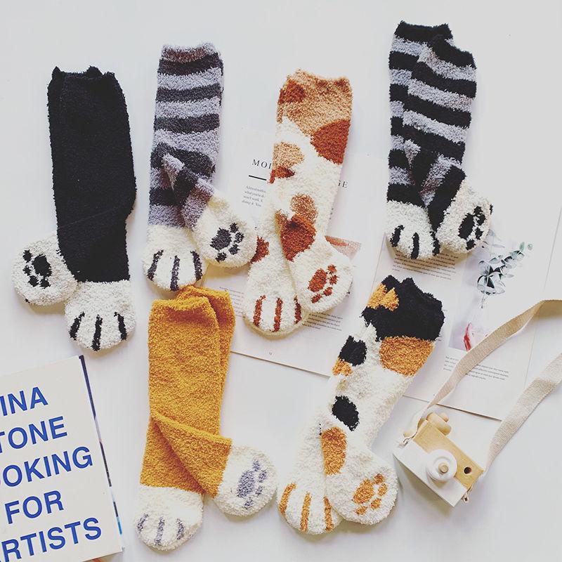 毛绒袜子女珊瑚绒秋冬加厚保暖长筒袜地板袜猫爪可爱居家睡眠女袜
