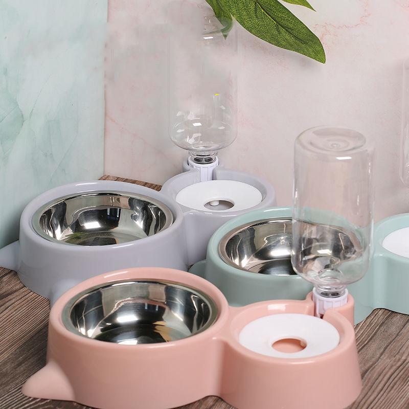 狗狗碗猫碗大号不锈钢双碗自动饮水宠物