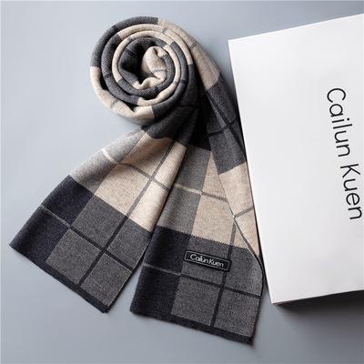 2020新款针织高档男士羊毛围巾男生日礼物韩版百搭秋格子围巾冬季